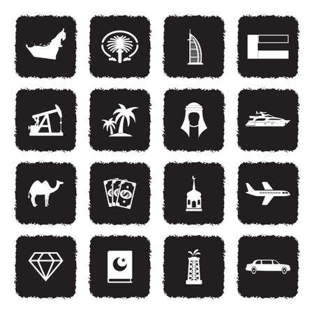 Emirats arabes unis icônes . noir design plat concept. illustration vectorielle Banque d'images - 107000312