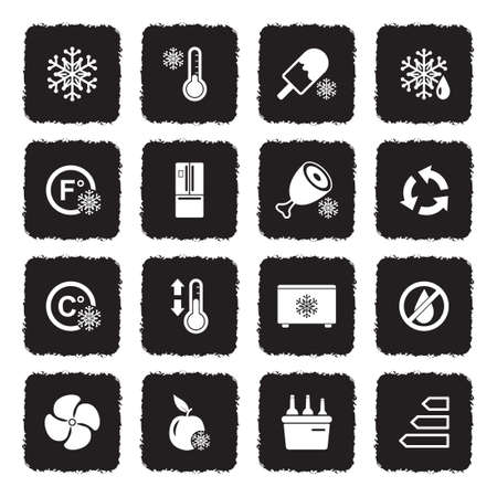 Icônes réfrigérateur . noir design plat plat. illustration vectorielle Banque d'images - 107000314