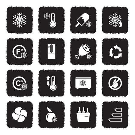 Refrigerator Icons. Grunge Black Flat Design. Vector Illustration.
