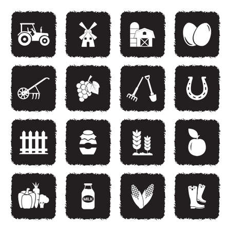 Farm Icons. Grunge Black Flat Design. Vector Illustration.
