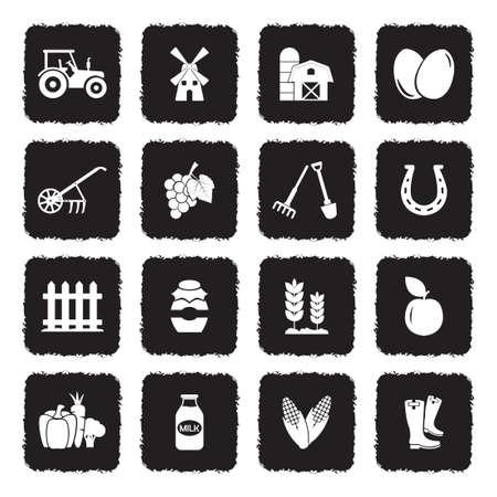 Icônes de ferme . design plat noir rétro. illustration vectorielle Banque d'images - 107000315