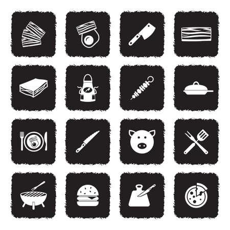 Bacon Icons. Grunge Black Flat Design. Vector Illustration.