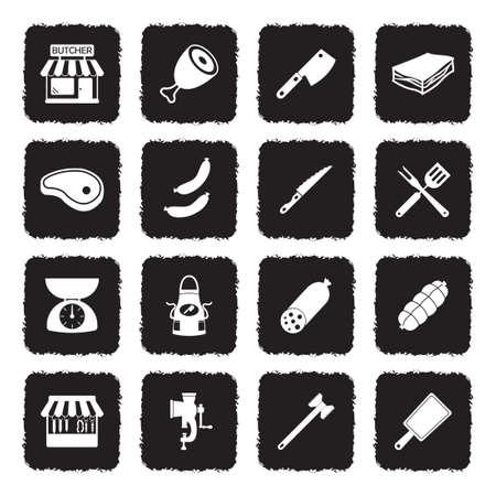 Butcher Icons. Grunge Black Flat Design. Vector Illustration.