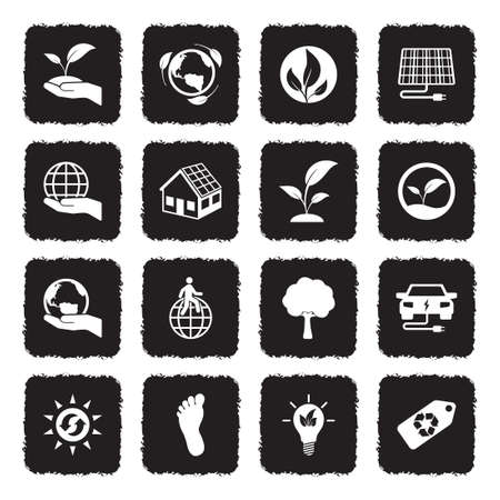 Earth Conservation And Ecology Icons. Grunge Black Flat Design. Vector Illustration.