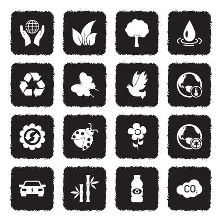 Environment Icons. Grunge Black Flat Design. Vector Illustration. Ilustração