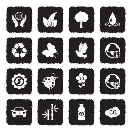 Icônes de l & # 39 ; environnement . grunge design plat noir . illustration vectorielle Banque d'images - 107000319