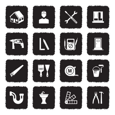 Home Repair Icons. Grunge Black Flat Design. Vector Illustration.