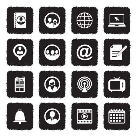 Media And Communication Icons. Grunge Black Flat Design. Vector Illustration.