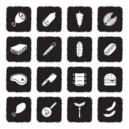 Meat Icons. Grunge Black Flat Design. Vector Illustration. Illustration
