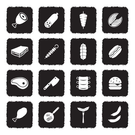 Meat Icons. Grunge Black Flat Design. Vector Illustration. Иллюстрация