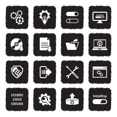 Setup, Installation And Configuration Icons. Grunge Black Flat Design. Vector Illustration.
