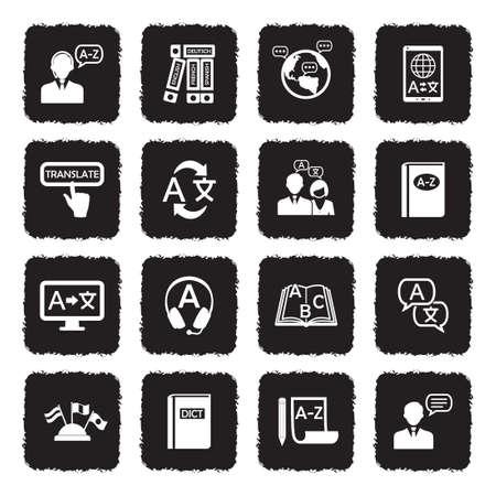 Translation And Dictionary Icons. Grunge Black Flat Design. Vector Illustration. Ilustração