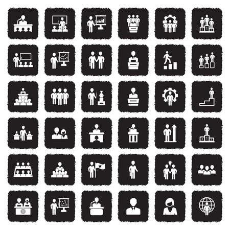 Business People Icons. Grunge Black Flat Design. Vector Illustration.