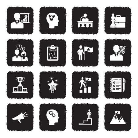 Coaching Business Icons. Grunge Black Flat Design. Vector Illustration.