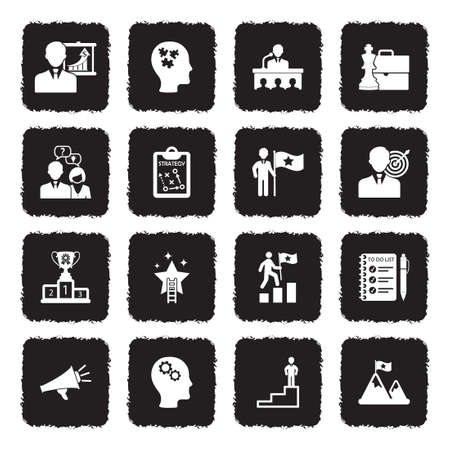 Coaching Business Icons. Grunge Black Flat Design. Vector Illustration. Banque d'images - 107000326