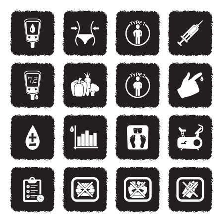 Diabetes Icons. Grunge Black Flat Design. Vector Illustration.
