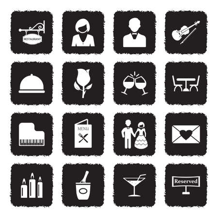 Dinner Icons. Grunge Black Flat Design. Vector Illustration. Illustration
