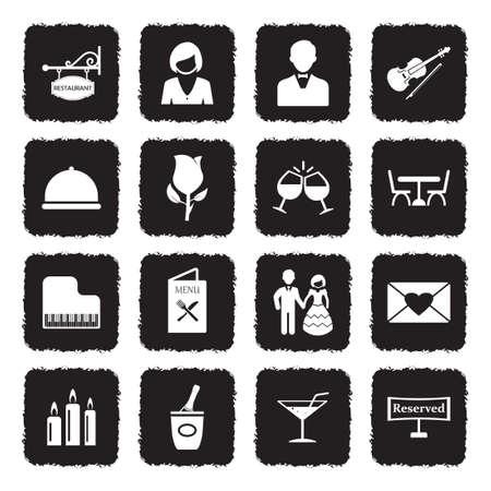 Dinner Icons. Grunge Black Flat Design. Vector Illustration. Ilustração