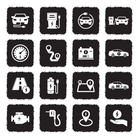 Electric Car Icons. Grunge Black Flat Design. Vector Illustration.