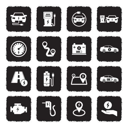 Icônes de voiture électrique . noir design plat moderne. illustration vectorielle Banque d'images - 107000329