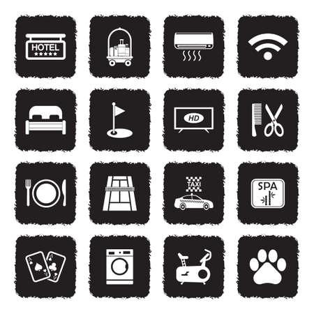 Hotel Services Icons. Grunge Black Flat Design. Vector Illustration.
