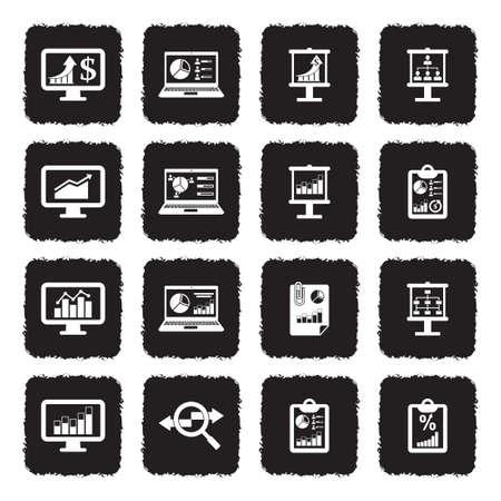 Infographic Icons. Grunge Black Flat Design. Vector Illustration.