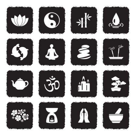 Zen Icons. Grunge Black Flat Design. Vector Illustration.