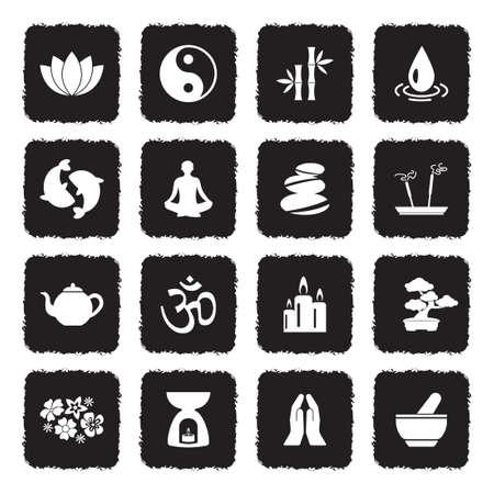 Icônes zen . grunge design plat noir . illustration vectorielle Banque d'images - 107000332