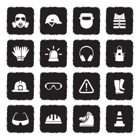 Icônes de matériel de sécurité . design plat noir grunge. illustration vectorielle Banque d'images - 107000333