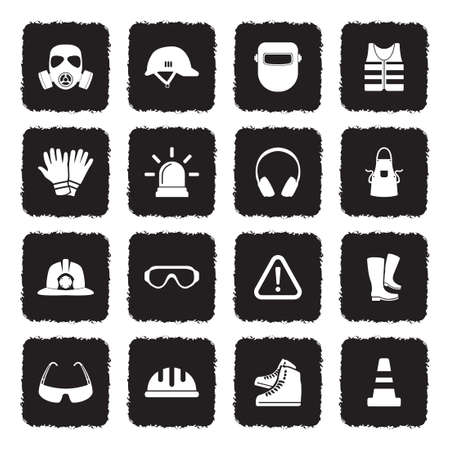 Safety Equipment Icons. Grunge Black Flat Design. Vector Illustration.