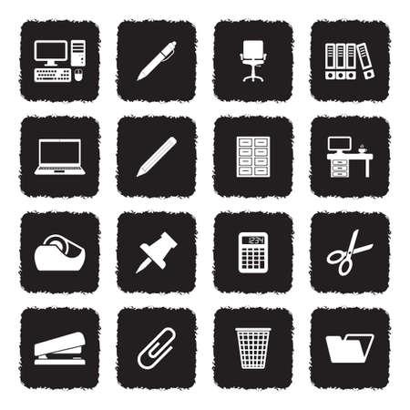 Office Supplies Icons. Grunge Black Flat Design. Vector Illustration. Ilustração