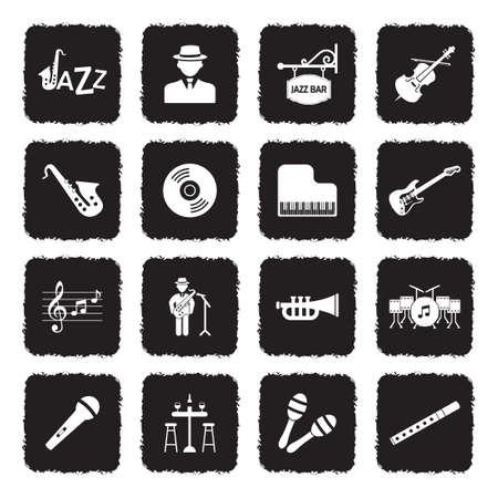 Jazz Icons. Grunge Black Flat Design. Vector Illustration. Stock Illustratie