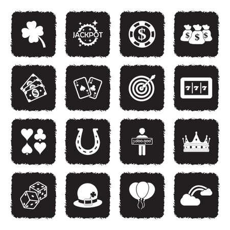 Luck Icons. Grunge Black Flat Design. Vector Illustration.