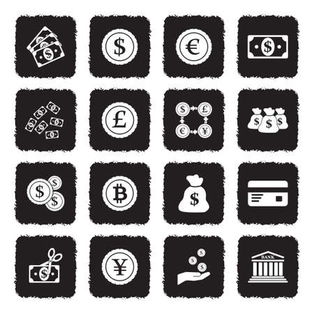 Money And Currency Icons. Grunge Black Flat Design. Vector Illustration.