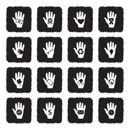 Hand Icons. Set 2. Grunge Black Flat Design. Vector Illustration. Ilustração
