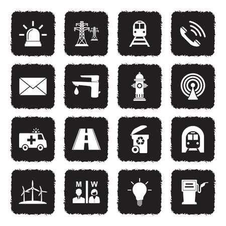 Icônes publiques publics . noir design plat. illustration vectorielle Banque d'images - 107000340