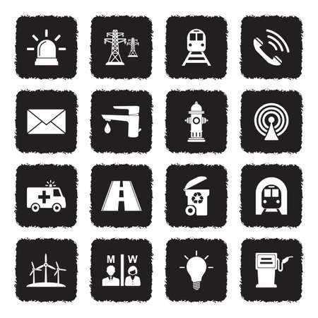 Public Utility Icons. Grunge Black Flat Design. Vector Illustration. Ilustração