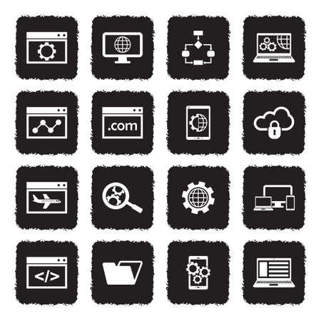 Website Development Icons. Grunge Black Flat Design. Vector Illustration.