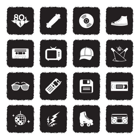 80's Vintage And Retro Icons. Grunge Black Flat Design. Vector Illustration.