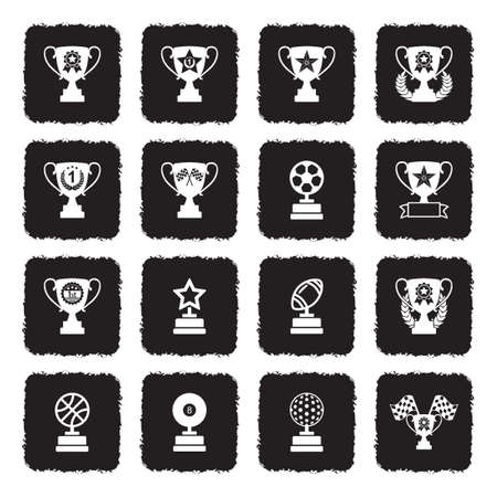 Award Cup And Trophy Icons. Grunge Black Flat Design. Vector Illustration.
