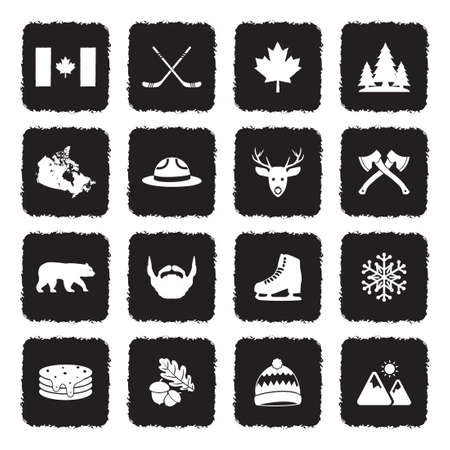 Canada Icons. Grunge Black Flat Design. Vector Illustration. Ilustração