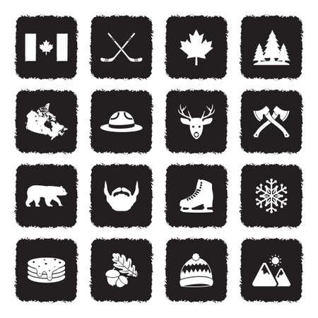 Canada Icons. Grunge Black Flat Design. Vector Illustration. Stock Illustratie