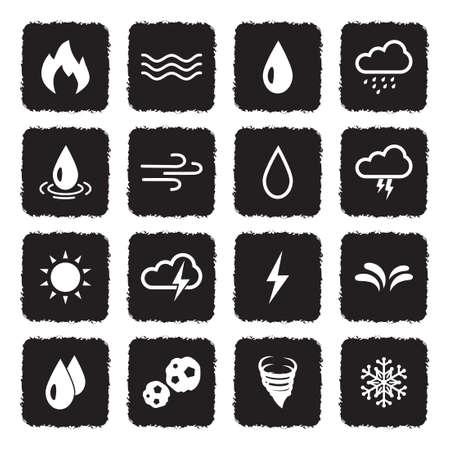 Element Icons. Grunge Black Flat Design. Vector Illustration.