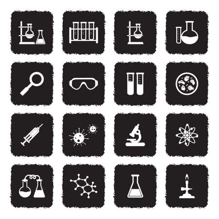 Lab And Research Icons. Grunge Black Flat Design. Vector Illustration.