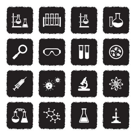 Laboratoire et recherche icônes grunge. design plat noir plat. illustration vectorielle Banque d'images - 107000347