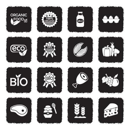 Organic Food Icons. Grunge Black Flat Design. Vector Illustration.