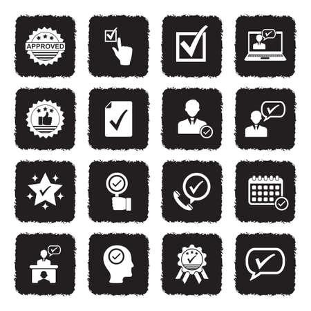 Approve Icons. Grunge Black Flat Design. Vector Illustration. Ilustração