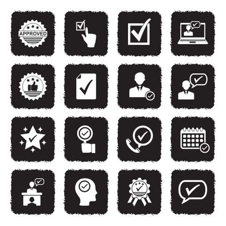 Approve Icons. Grunge Black Flat Design. Vector Illustration. Stock Illustratie