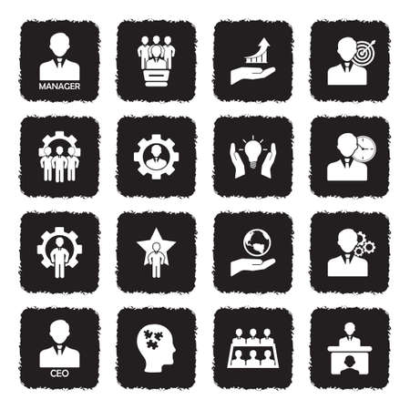 CEO And Manager Icons. Grunge Black Flat Design. Vector Illustration. Stock Illustratie