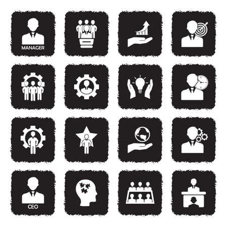 CEO And Manager Icons. Grunge Black Flat Design. Vector Illustration. Ilustração
